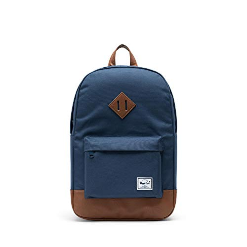 Herschel Heritage Backpack, Navy/Tan Synthetic Leather, Mid-Volume 14.5L