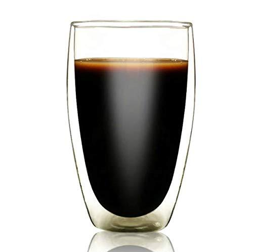 VYEKL Doppelwandige eiförmige Glasbar Startseite Kaffeetasse Anti Verbrühung Tee Milch Tassen Borosilikat Teetasse große…