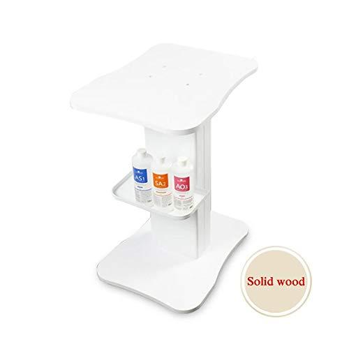 Carrello Parrucchiere Carrello in Legno massello per apparecchiature mediche di Bellezza, attrezzo per Carrello Medico di Moda con Ruota Freno Universale, portante 100 kg (Color : White)