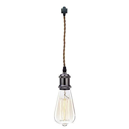 GYC - Cable de Cuerda de Tejido marrón de 1 pie, 1 luz, Tipo H, lámpara Colgante de riel, Accesorios de iluminación con Base Negra Perla, luz de Techo de Estilo Retro Vin