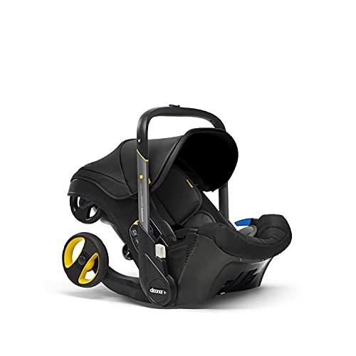 Doona+ 0+ Kindersitz - Die erste Babyschale mit integriertem Fahrgestell: Von Autositz zum Buggy in Sekundenschnelle - bis zu 13 kg - Nitro Black/schwarz