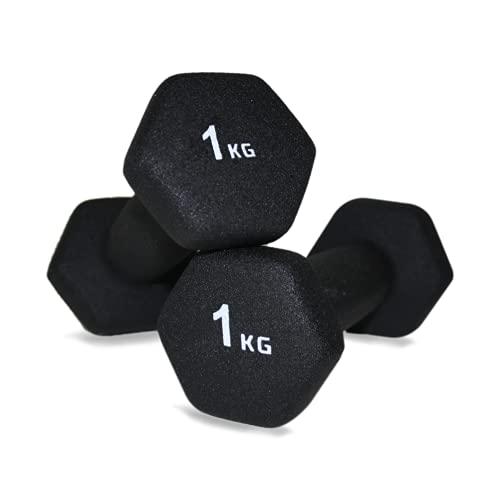 Natural Logistics Mancuernas de Neopreno para Musculación (1 kg). Mancuernas Hexagonales Negra...
