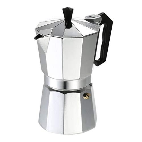 Bidema Cafetera de Aluminio 3Cup / 6Cup / 9Cup / 12Cup Cafetera Estufa Espresso percolador quemadores Mocha Pot eléctrico Blanco de la Plata (Color : 50ml)