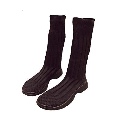Dames Schoenen Laarzen 2019 Herfst Nieuwe Gebreide Ademende Elastische Sokken Schoenen Hoge Top Booties Enkellaarzen 35 Zwart