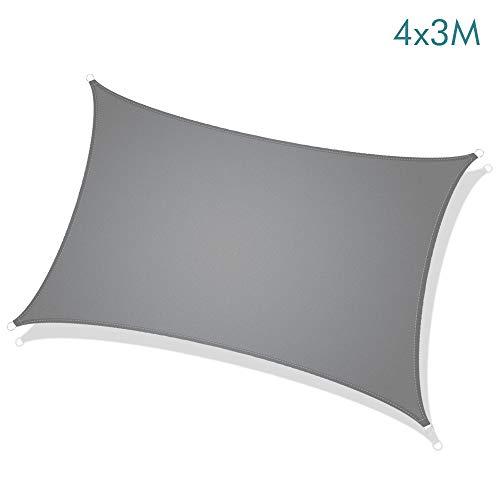 Sunix Toldo Vela de Sombra Rectangular 3 x 4 m, 95% protección Rayos UV 210GSM paño de Sombra Solar, Resistente al Agua Vela de Sombra al Aire Libre para Patio Jardín Terraza