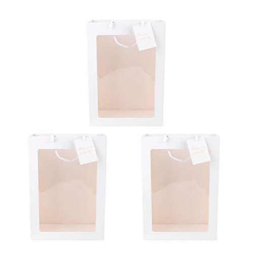 VALICLUD Stylish 3Pcs Portable Flower Bouquet Packtaschen Transparentes Fenster Geschenktaschen