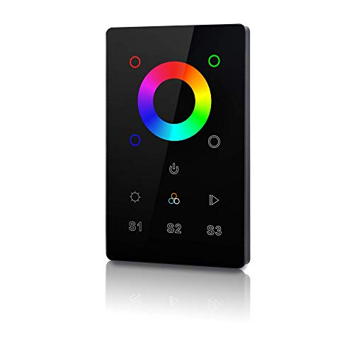 RGBgenie RGBW Touch Panel Controller and Dimmer with Built-in Repeater, Z-Wave Plus, 3 Scene, In-Wall. ZW-3003 (black)