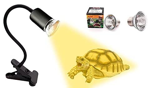 Lámpara Blanca para Tortuga de Agua- Lámpara de Calor para Réptil- Bombillas de Luz Solar y UVB y UVA- Foco Ajustable 360 º - 2 Bombillas de 25w y 50w.