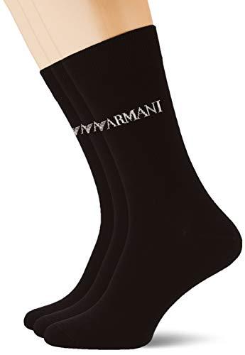 Emporio Armani Underwear Herren Essential Logo Multipack Short Socken, Schwarz (Nero 00020), One Size (Herstellergröße: TU)