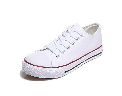 Frentree Unisex Damen Herren Sneaker Low Bequeme Leinenschuhe (bei größerem Fuss eine Nummer größer nehmen als Vorschlag), Farbe:weiß, Größe:40