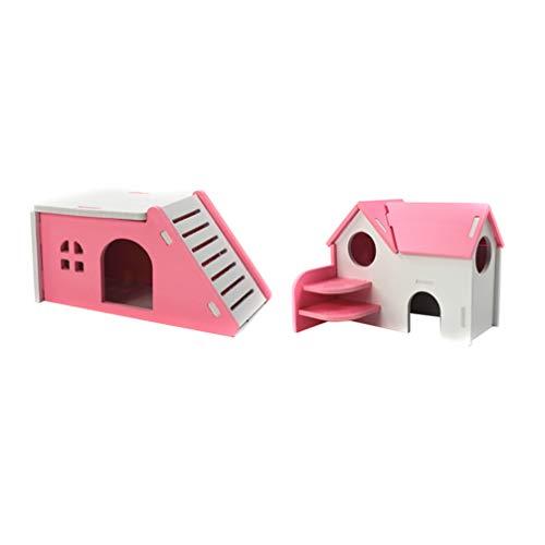 POPETPOP - 2 Casitas de hámster de Madera con tobogán de Doble Capa para Mascotas pequeñas, Ratones, Color Rosa