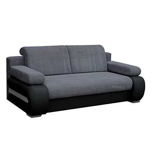 mb-moebel Couch mit Schlaffunktion Sofa Schlafsofa Wohnzimmercouch Bettsofa Ausziehbar - York (Dunkelgrau + Schwarz)