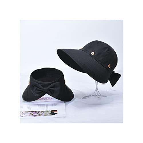 ZBYD Sombrero de Verano Mujer de Verano Protección Solar Moda al Aire Libre Sunhat Pico Casquillo Nuevo Casos Casuales 607 (Color : Black, Size : One Size)