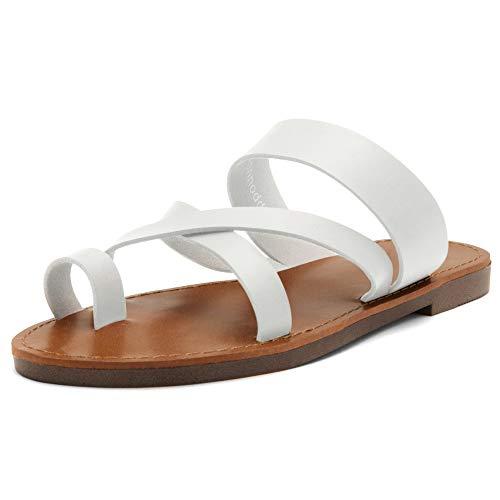 Herstyle Donnoddi Women Slip On Flip Flops Gladiator Shoes Open Toe Loop Flat Sandals White 65