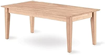 Pemberly Row Tall Shaker Unfinished Coffee Table in Natural