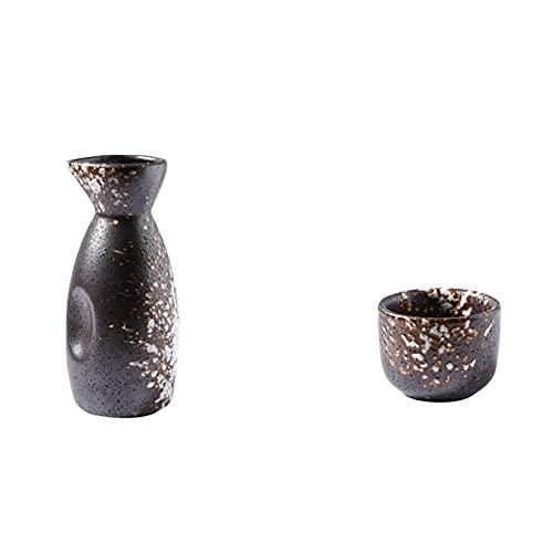 HQQ Set de Sake, Manualidades de cerámica Tradicionales japonesas, Copa de Vino, franqueza, 13x5cm160ml