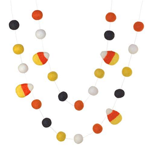 Candy Corn Felt Ball Garland- Orange Black Gold White- Pom Pom- Fall Autumn Halloween Trick or Treat Decor