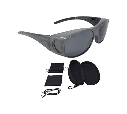 Sonnenüberbrille Überzieh Sonnenbrille FLEXI EDITION polarisiert UV 400 (Silbergrau)