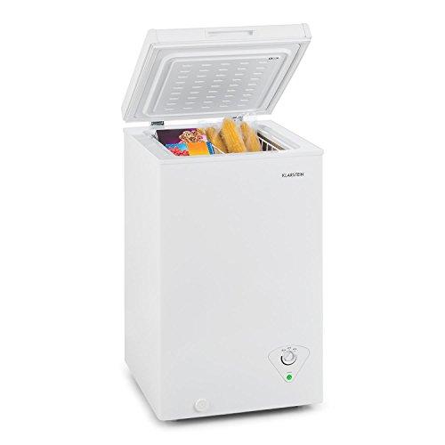 Klarstein Iceblokk - Congelador, Temperatura entre -26° y -15° C, Cesta extraíble para alimentos pequeños, Válvula de purgado, Ruedas, Potencia 213 kWh/a, ECC A+, Capacidad de 200 litros, Hueso