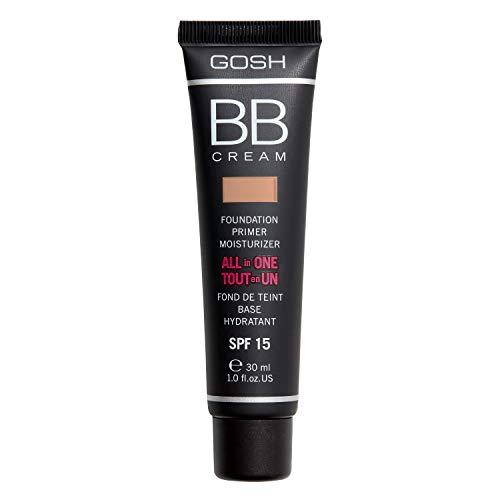 GOSH BB Cream 3-in-1: Primer, Foundation & Feuchtigkeitscreme, 30ml I Make-Up für ein gepflegtes Hautbild & strahlenden Teint I Abdeckung von Unreinheiten & Rötungen I 100%...