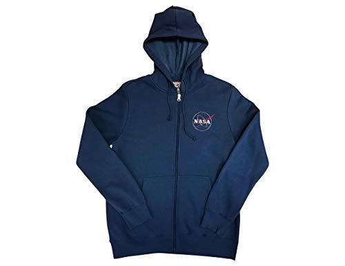 Ripple Junction NASA Adult Unisex Distressed Meatball Logo Full Zip Fleece Hoodie LG Navy