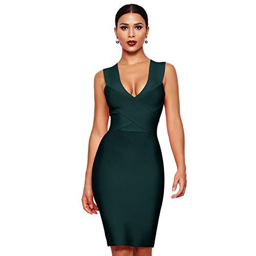 Kleider Club Wear Partykleid Ärmellos Cross V-Ausschnitt Damen Bandage Bodycon Deep Green Dress