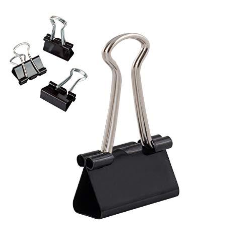 D.RECT Set de 12 Clips para la oficina | Clips Oficina | Pinzas para papel grandes de metal | 25mm Negro