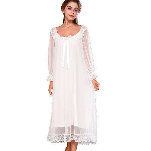 Flaydigo Damen Kleid Nachthemd Langarm Spitze Vintage Viktorianischen Stil Nachthemd Sweet Loose Comfort Langen Rock Nachtwäsche, S / Tag M, Weiß