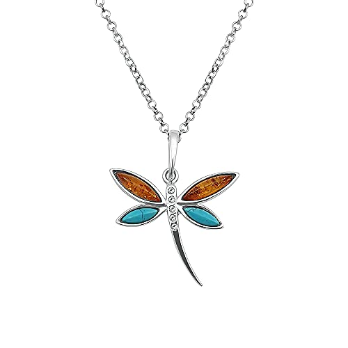Kiara Jewellery 925 Sterling Silver Dragonfly Pendant Necklace Inlaid With Brown Baltic Amber And Turquoise on 18' Sterling Silver Chain.