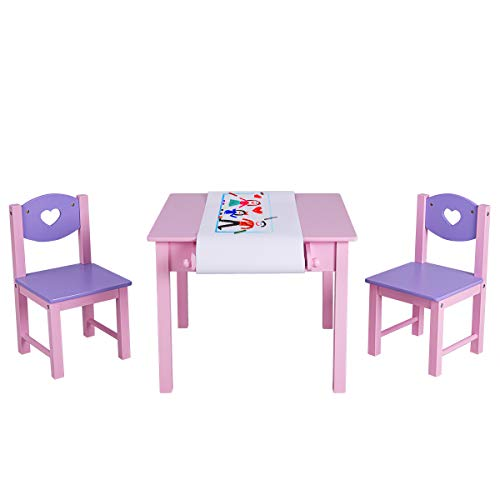 COSTWAY Sitzgruppe Kinder, 3tlg. Kindersitzgruppe, Kindermöbel aus Holz, Kindertisch mit 2...