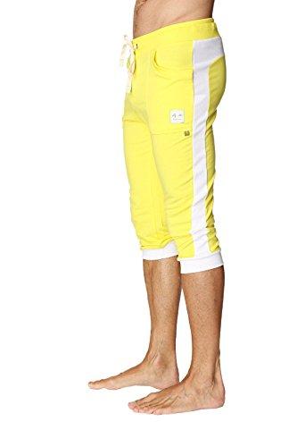 4-rth Men's Transition Cuffed Yoga Pant (Medium, Yellow w/White)