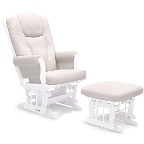 Dutailier Ontario Technogel Glider Chair with Ottoman (White/Beige)