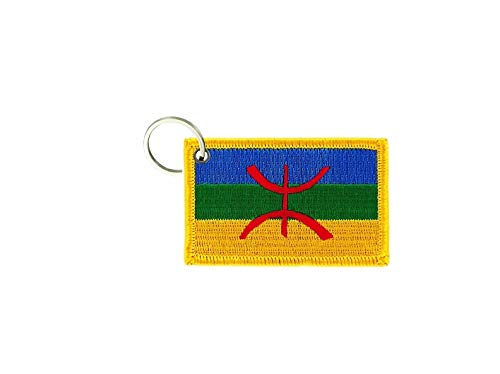 akachafactory Porte cle cles Clef Brode Patch ecusson Badge Drapeau kabylie berberes Kabyle