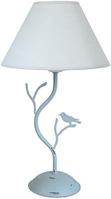 Tosel 63828 Lampe de Table Oiseaux Acier 60 W E27 Gris Bleu Cérusé