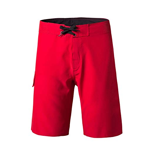 Men Swimming Trunks Swimwear Male Beach Swimsuits Solid Running Sports Pants Shorts,Red,32