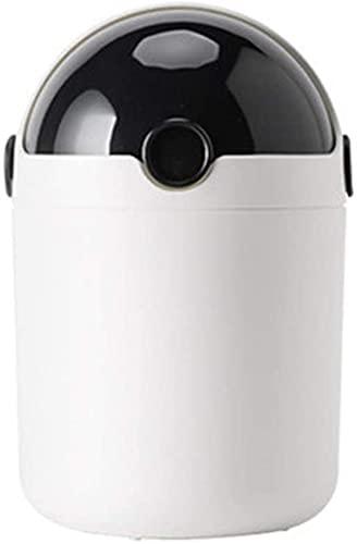 Papeleras Papelera de plástico de papel basura de papel basura con tapa de escritorio pequeño portátil basura portátil para baño Hogar y oficina Mini organizador de basura basura ( Color : Black )
