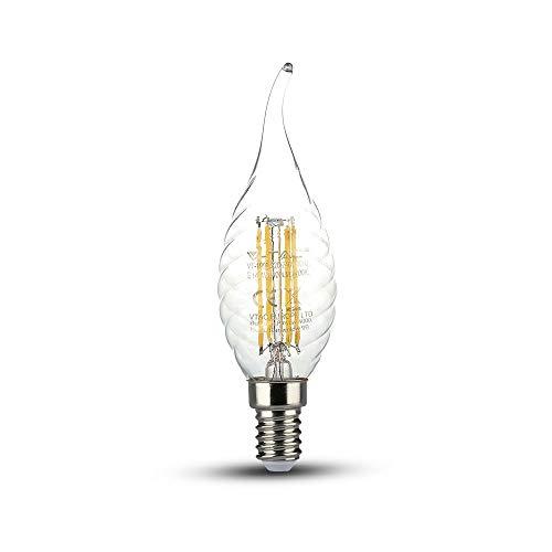 V-TAC SKU.4432bombilla LED vela Filament 4W VT-1995, plástico, y otro MATERIAUX, E14, 4W, transparente
