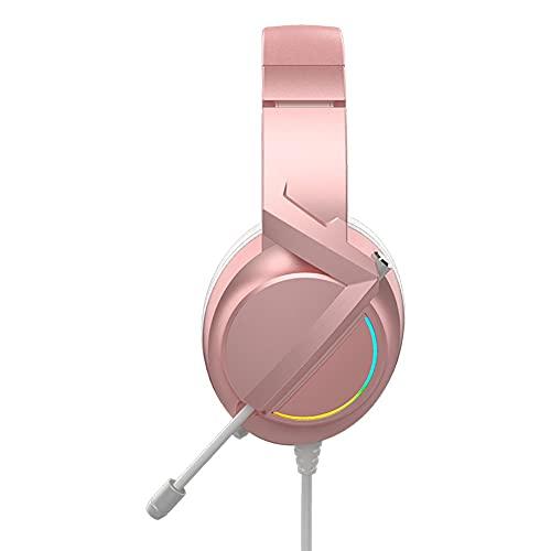 Gaming Headset für PC PS4, Stereo Surround Sound Gaming Kopfhörer mit Geräuschkündigungsmikrofon Lautstärker LED-Leuchten für Xbox One PS5 Laptops Mac Smartphone (Color : Pink)