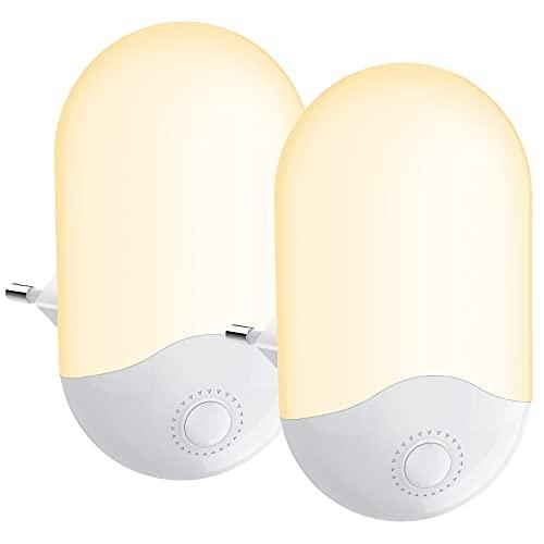Luz Nocturna Infantil [2 piezas] Luz Calida LED Noche para bebés con Sensor Crepuscular 3 Modos (Auto/ON/OFF) Luz Quitamiedos Infantil para Habitaciones de Niños,Dormitorio,Garajes, Baños