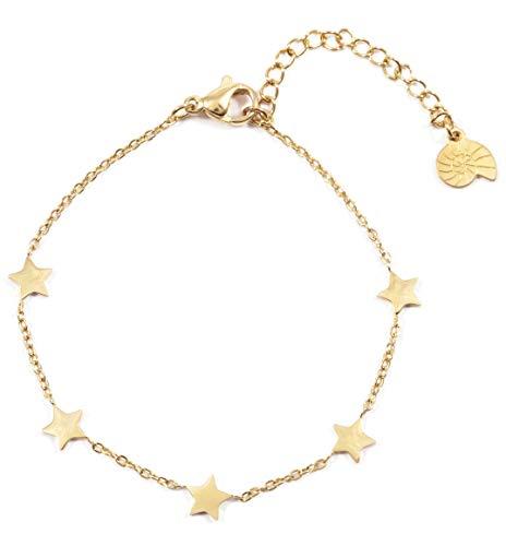 Happiness Boutique Damas Brazalete de Estrella en Color Oro | Brazalete con Colgante de Filigrana y...