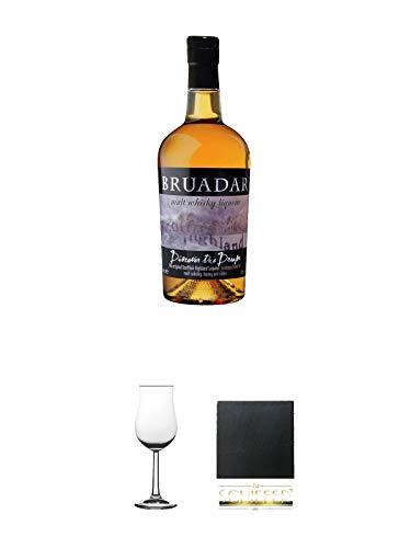 Bruadar Whisky Malt Whisky Liköre 0,7 Liter + Nosing Gläser Kelchglas Bugatti mit Eichstrich 2cl und 4cl 1 Stück + Schiefer Glasuntersetzer eckig ca. 9,5 cm Durchmesser