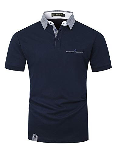 GHYUGR Poloshirt Herren Kurzarm Golf T-Shirt Klassische Karierte Spleiß Polohemd S-2XL,Blau 1,XL