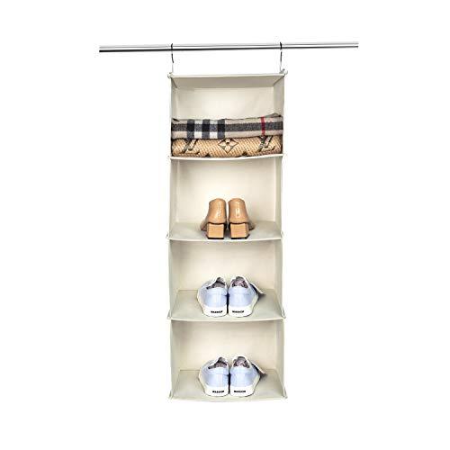 BrilliantJo Hanging Storage with 4 Shelves Wardrobe Closet Organiser, Storage Shelves Unit for Clothes - Beige(30 x 30 x 84cm)