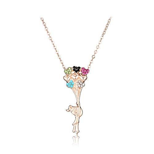 Collar encantador de joyería para mujer y chic, con colgante de dibujos animados, para mujer, con diamantes de imitación, para fiesta, para ella, color: oro rosa (color: oro rosa)