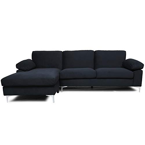 Black Sectional Sofa with Lounger Chaise,JULYFOX Overstuffed 3 Seater Velvet Fabric Couch L-Shaped Sofa with 2 Throw Pillows Extra Wide Armrest