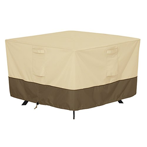 Classic Accessories 55-566-011501-00 Veranda Water-Resistant 40 Inch Square Patio Table Cover,Pebble,Medium