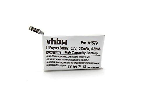 vhbw Batería Recargable Compatible con Apple Watch MLCC2LL/A smartwatch, Reloj de Actividad (240 mAh, 3,7 V, polímero de Litio)