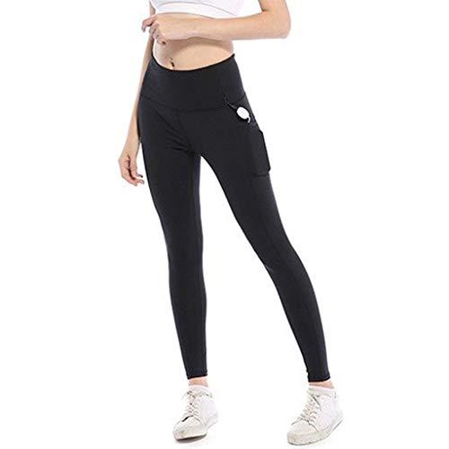 Linkay Damen Leggings Lange Hohe Sporthose Taille Schwarz Leggins Frauen Weich Blickdicht Pants Hosen Yoga Hose (Schwarz,Small)