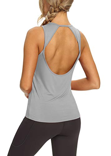 Mippo Workout Tank Tops for Women Open Back Yoga Tops Backless Workout Shirts Muscle Tank Athletic Running Gym Tank Tops Loose Fit Sports Gym Clothes for Women Gray S