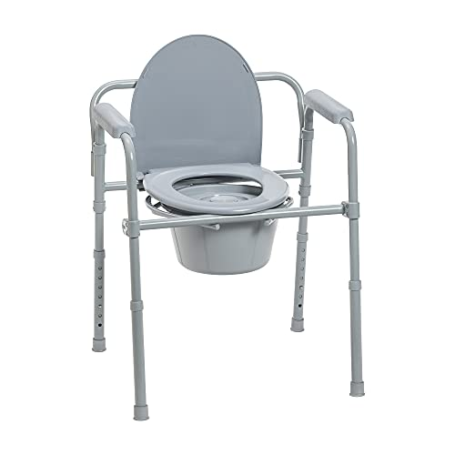 Drive Medical 11148-1 Steel Folding Bedside Commode, Grey, Bariatric, 18'x22.5'x35'